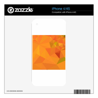 Pumpkin Orange Abstract Low Polygon Background Decals For The iPhone 4