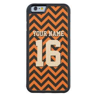 Pumpkin Orange Black Chevron Sports Jersey Carved Maple iPhone 6 Bumper Case