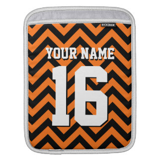 Pumpkin Orange Black Chevron Sports Jersey iPad Sleeve