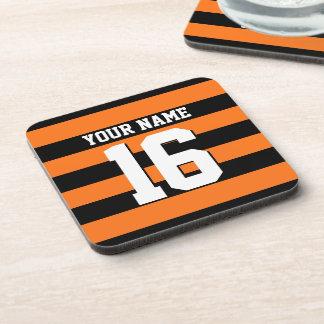 Pumpkin Orange Black Team Jersey Preppy Stripe Beverage Coaster