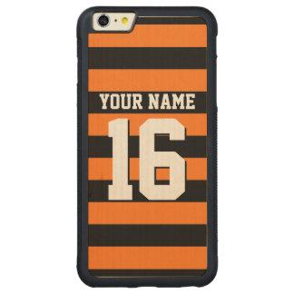 Pumpkin Orange Black Team Jersey Preppy Stripe Carved Maple iPhone 6 Plus Bumper Case