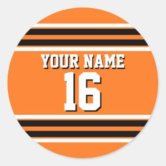 Pumpkin Orange Blk Team Jersey Custom Number Name Classic Round Sticker
