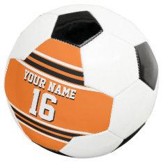 Pumpkin Orange Blk Team Jersey Custom Number Name Soccer Ball at Zazzle