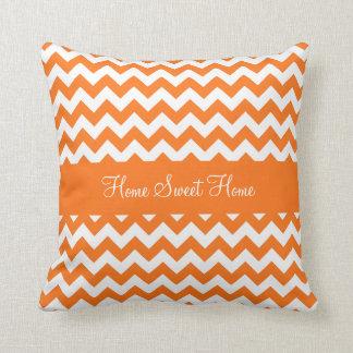 Pumpkin Orange Chevron Throw Pillow