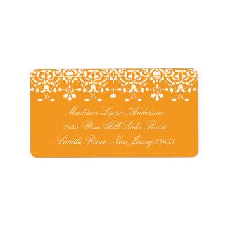 Pumpkin Orange Damask Lace Return Address Label