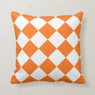 Pumpkin Orange Diamond Pattern Throw Pillow