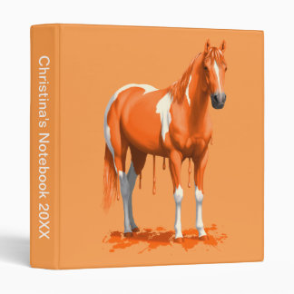 Pumpkin Orange Dripping Wet Paint Horse 3 Ring Binder