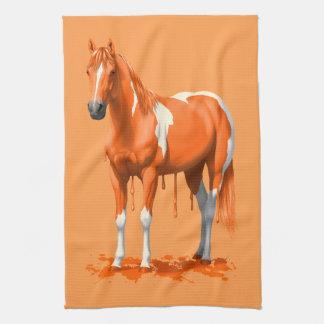 Pumpkin Orange Paint paint dripping kitchen towels | zazzle