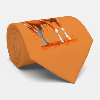 Pumpkin Orange Dripping Wet Paint Horse Neck Tie