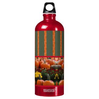 Pumpkin orange green Thanksgiving Autumn Harvest Aluminum Water Bottle