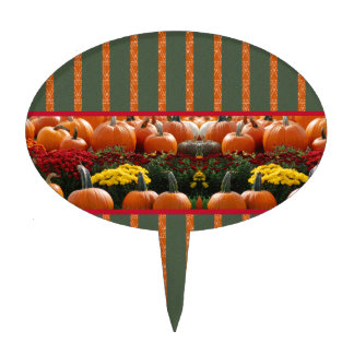Pumpkin orange green Thanksgiving Autumn Harvest Cake Topper