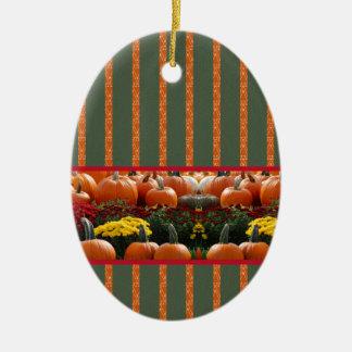 Pumpkin orange green Thanksgiving Autumn Harvest Ceramic Ornament