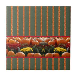 Pumpkin orange green Thanksgiving Autumn Harvest Ceramic Tile