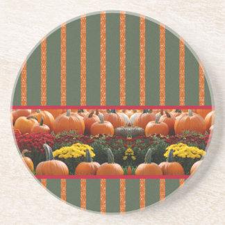 Pumpkin orange green Thanksgiving Autumn Harvest Coaster