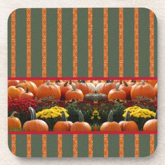 Pumpkin orange green Thanksgiving Autumn Harvest Drink Coaster