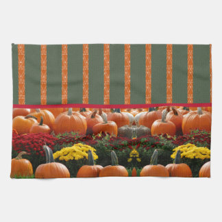 Pumpkin orange green Thanksgiving Autumn Harvest Hand Towels