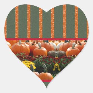 Pumpkin orange green Thanksgiving Autumn Harvest Heart Sticker