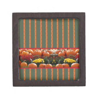 Pumpkin orange green Thanksgiving Autumn Harvest Jewelry Box