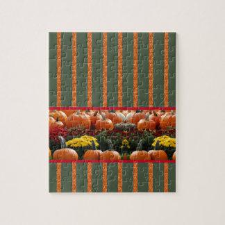 Pumpkin orange green Thanksgiving Autumn Harvest Jigsaw Puzzle