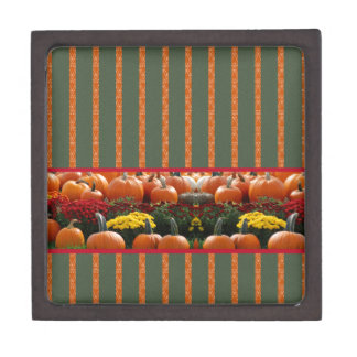 Pumpkin orange green Thanksgiving Autumn Harvest Keepsake Box