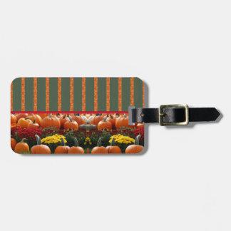 Pumpkin orange green Thanksgiving Autumn Harvest Luggage Tag