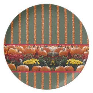 Pumpkin orange green Thanksgiving Autumn Harvest Melamine Plate
