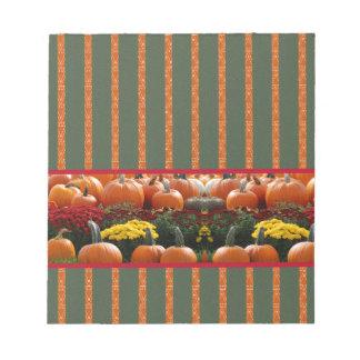 Pumpkin orange green Thanksgiving Autumn Harvest Note Pad