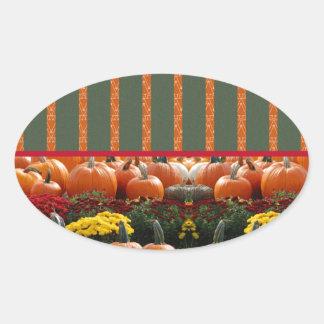 Pumpkin orange green Thanksgiving Autumn Harvest Oval Sticker