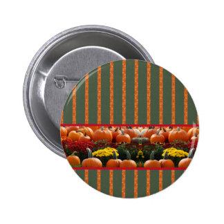 Pumpkin orange green Thanksgiving Autumn Harvest Pinback Button
