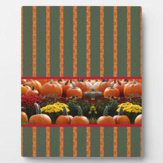 Pumpkin orange green Thanksgiving Autumn Harvest Plaque