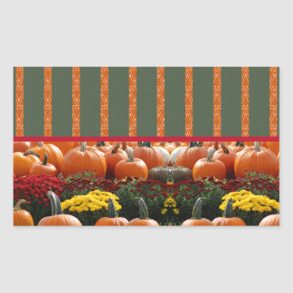 Pumpkin orange green Thanksgiving Autumn Harvest Rectangular Sticker