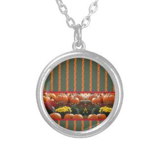 Pumpkin orange green Thanksgiving Autumn Harvest Round Pendant Necklace