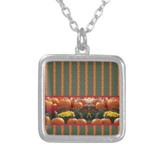 Pumpkin orange green Thanksgiving Autumn Harvest Square Pendant Necklace