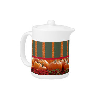 Pumpkin orange green Thanksgiving Autumn Harvest Teapot