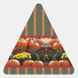 Pumpkin orange green Thanksgiving Autumn Harvest Triangle Sticker
