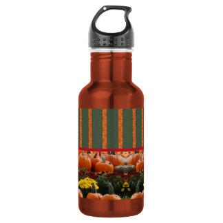 Pumpkin orange green Thanksgiving Autumn Harvest Water Bottle
