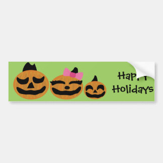 Pumpkin orange halloween face bumper sticker