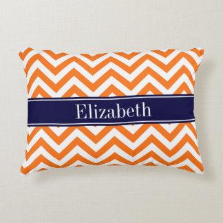 Pumpkin Orange Lg Chevron Navy Name Monogram Accent Pillow