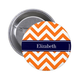 Pumpkin Orange Lg Chevron Navy Name Monogram Button