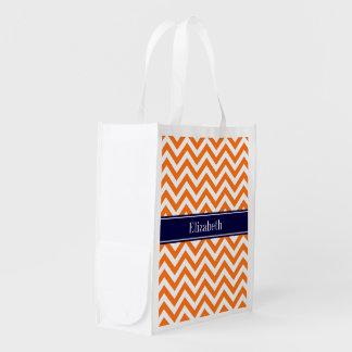 Pumpkin Orange Lg Chevron Navy Name Monogram Grocery Bag