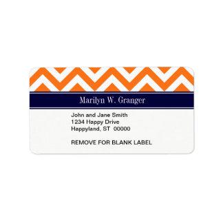 Pumpkin Orange Lg Chevron Navy Name Monogram Personalized Address Label