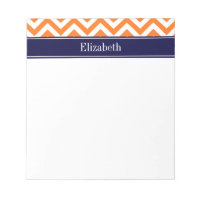 Pumpkin Orange Lg Chevron Navy Name Monogram Notepad