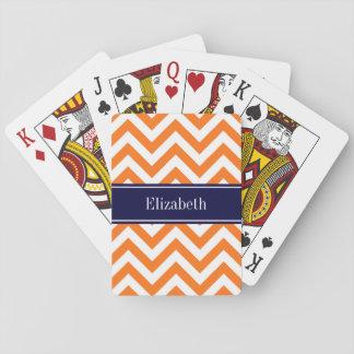 Pumpkin Orange Lg Chevron Navy Name Monogram Playing Cards