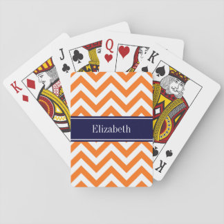 Pumpkin Orange Lg Chevron Navy Name Monogram Playing Cards