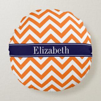 Pumpkin Orange Lg Chevron Navy Name Monogram Round Pillow