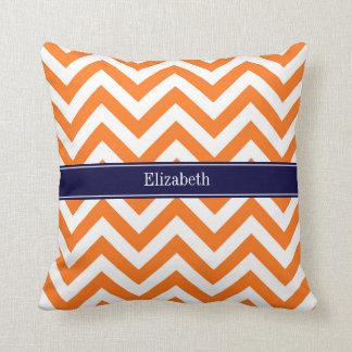 Pumpkin Orange Lg Chevron Navy Name Monogram Throw Pillow