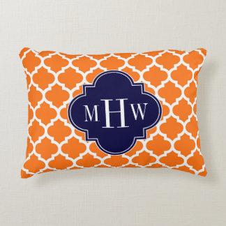 Pumpkin Orange Moroccan #5 Navy 3 Initial Monogram Decorative Pillow