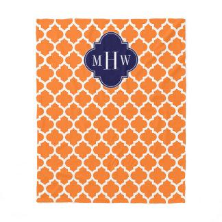 Pumpkin Orange Moroccan #5 Navy 3 Initial Monogram Fleece Blanket