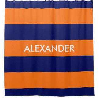 orange and navy shower curtain. Pumpkin Orange Navy Blue Bold H Stripe  3 Monogram Shower Curtain And Curtains Zazzle