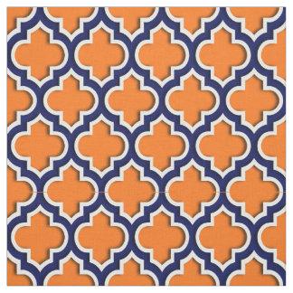 Pumpkin Orange Navy Blue Moroccan Quatrefoil 5ds Fabric